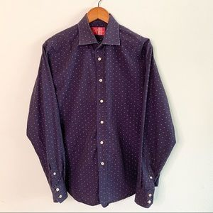 Rufus Purple Embroidered Polka Dot Button Up